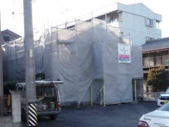 アパート塗装工事中-笠松町