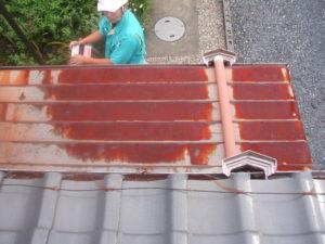 屋根調査中