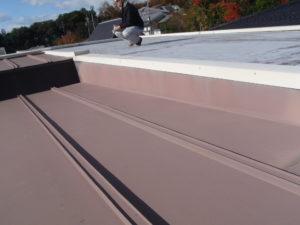 屋上防水と屋根の調査中