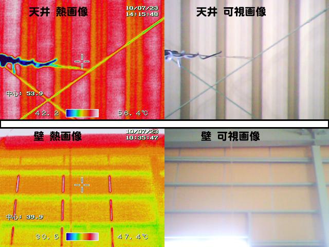 屋根の裏面と内壁の熱の見える化